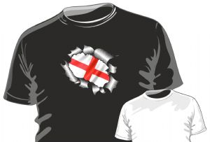 RIPPED TORN METAL Design With St Georges Cross England Flag Motif mens or ladyfit t-shirt